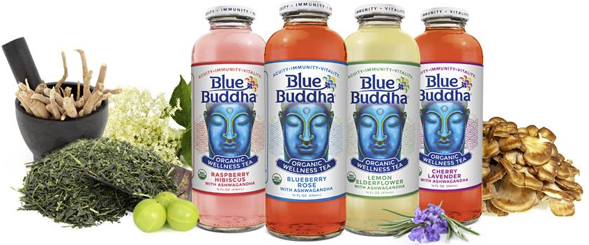 Blue Buddha - Blue Buddha Organic Wellness Tea's combines the freshest organic green tea with a proprietary blend of ayurvedic herbs. With ingredients like Ashwagandha, Maitake Mushrooms, Amla, Organic Green Tea, Rose Pedal, Hibiscus Flower, Elderflower, Chamomile and Lavendar- Blue Buddha is not