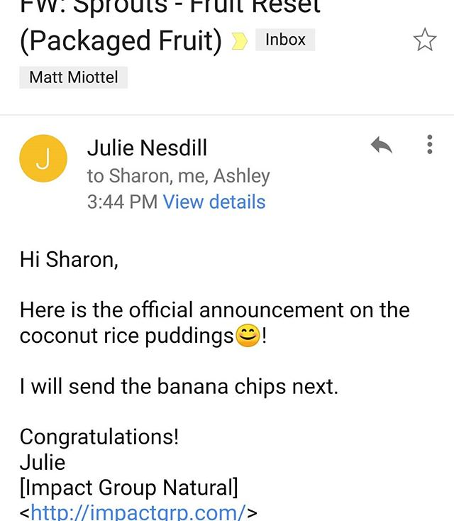 Boom! Sun Tropics Banana Chips and Coconut Rice Puddings accepted at Sprout's! Another HUGE win for an MJM Management Client!