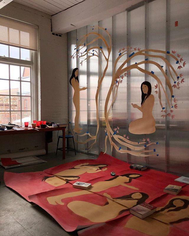 Studio @massmoca thru March 🌷  #studio #paintings #watercolor #paper #massmoca