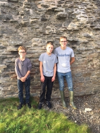 Boys at a castle in mid wales (dolforwyn)