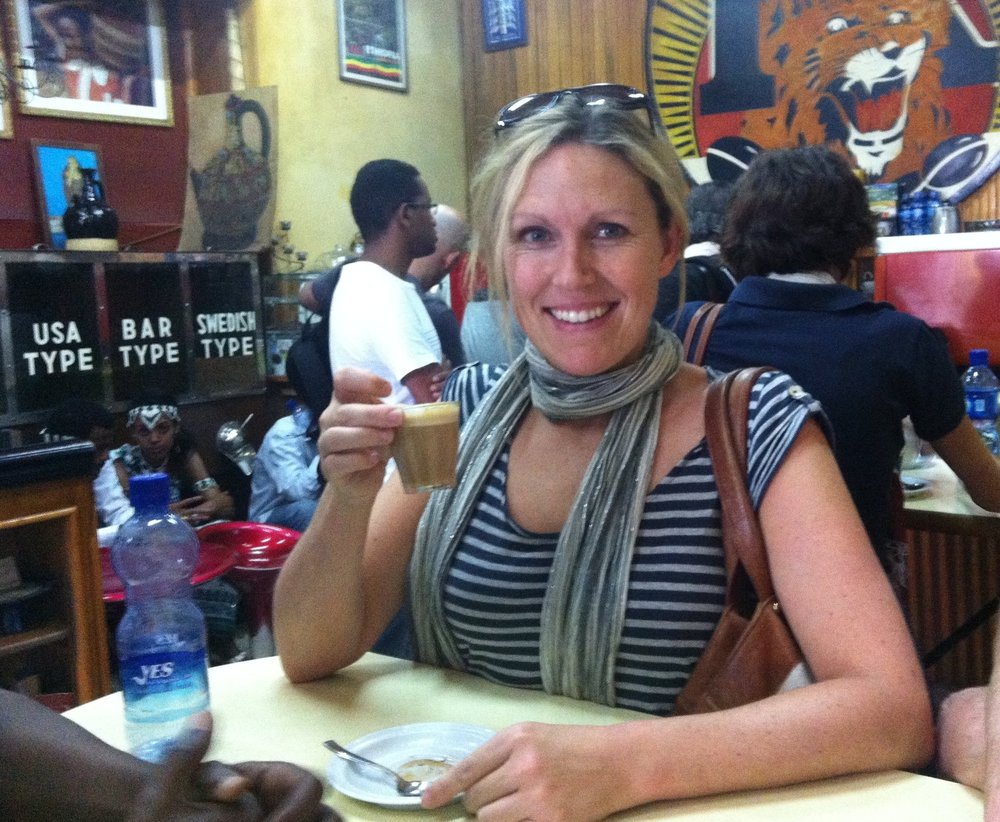Not a tea moment (I couldn't find a picture of that) but the closest to it - a coffee moment in Ethiopia!