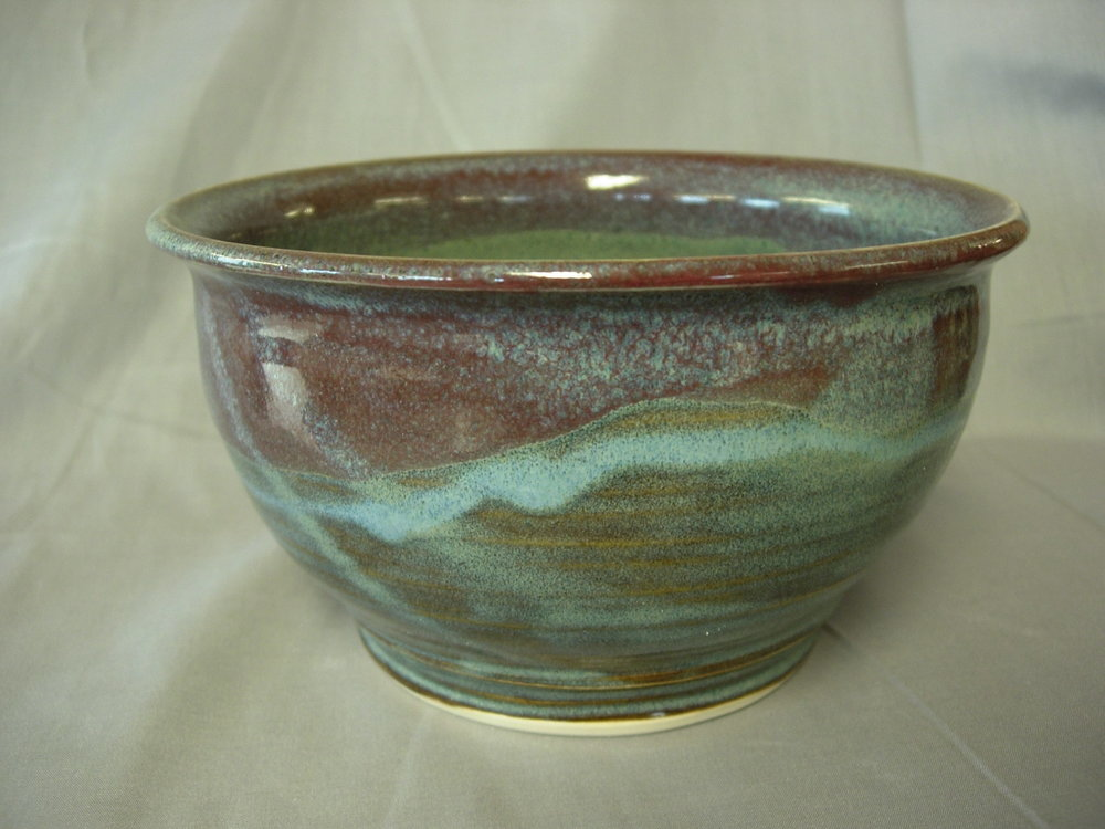 Bowl withvariegated blue and   raspberry glaze.jpg