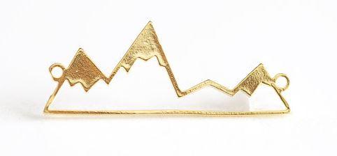 Vermeil Gold Mountain Silhouette Connector Charm - 33mm gold skeletal mountain silhouette $5.50
