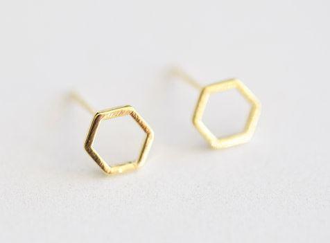 Gold 8mm Hexagon Stud Earrings - vermeil gold hexagon geometrical