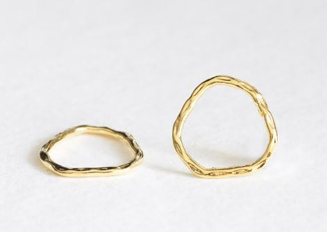 Vermeil Gold Off Round Organic Shape Hammered Circle Connector Spacer Link - 18k gold over sterling silver, textured irregular circle charms $7 for 2