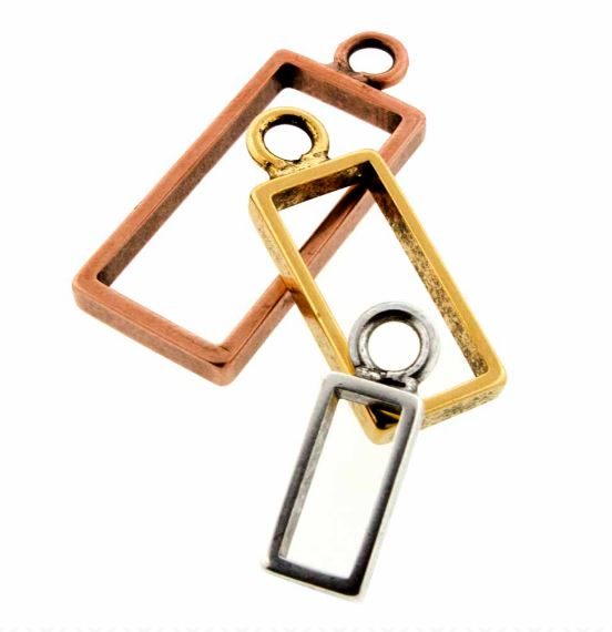 Brass Rectangle Open Frame by Nunn Design (sterling silver, gold plated, silver plated, copper plated)  $2.65-$3.95