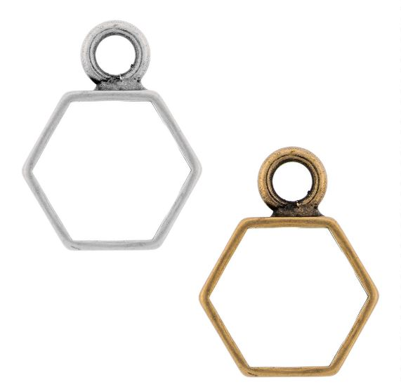 Brass Hexagon Open Frame by Nunn Design (sterling silver, silver plated, gold plated, copper plated)  $2.12-$2.75