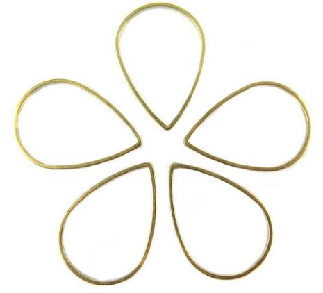 Raw Brass Teardrop Shape Wire Charms (24x)  $4.00 for 24