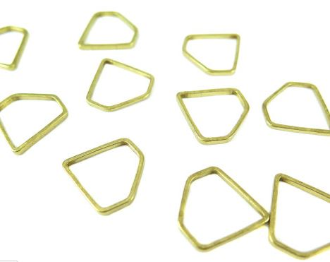 Raw Brass Small Diamond Shape Wire Charms (24x)  $4.00 for 24