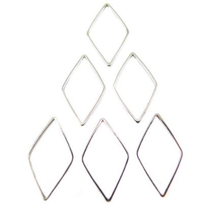 Rhodium Plated Diamond Shape Wire Charms (16x)  $4.50 for 16