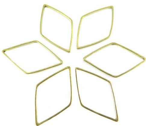 Raw Brass Diamond Shape Wire Charms (24x)  $4.00 for 24