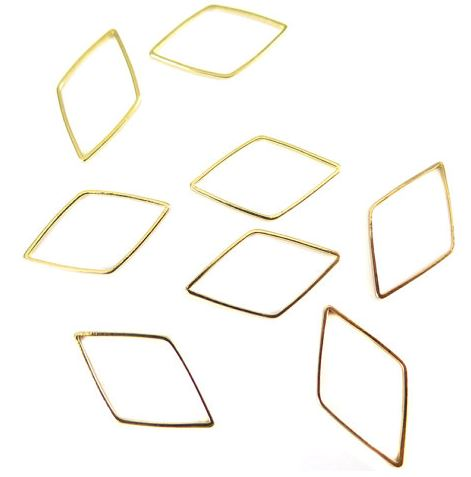 Gold Plated Diamond Shape Wire Charms (12x)  $4.25 for 12