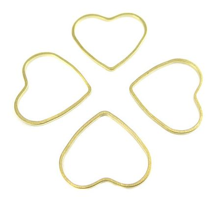 Raw Brass Heart Shape Wire Charms (24x)  $4.00 for 24