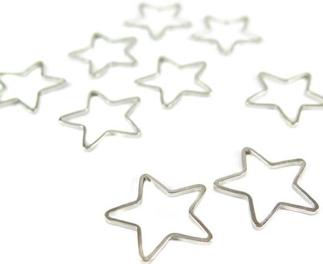 Rhodium Plated Star Shape Wire Charms - (12x)  $3.00 for 12