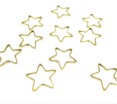 Raw Brass Star Shape Wire Charms (24x)  $4.00 for 24