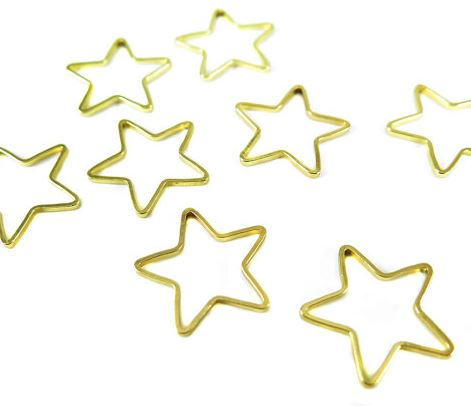 Gold Plated Star Shape Wire Charms (12x)  $5.00 for 12