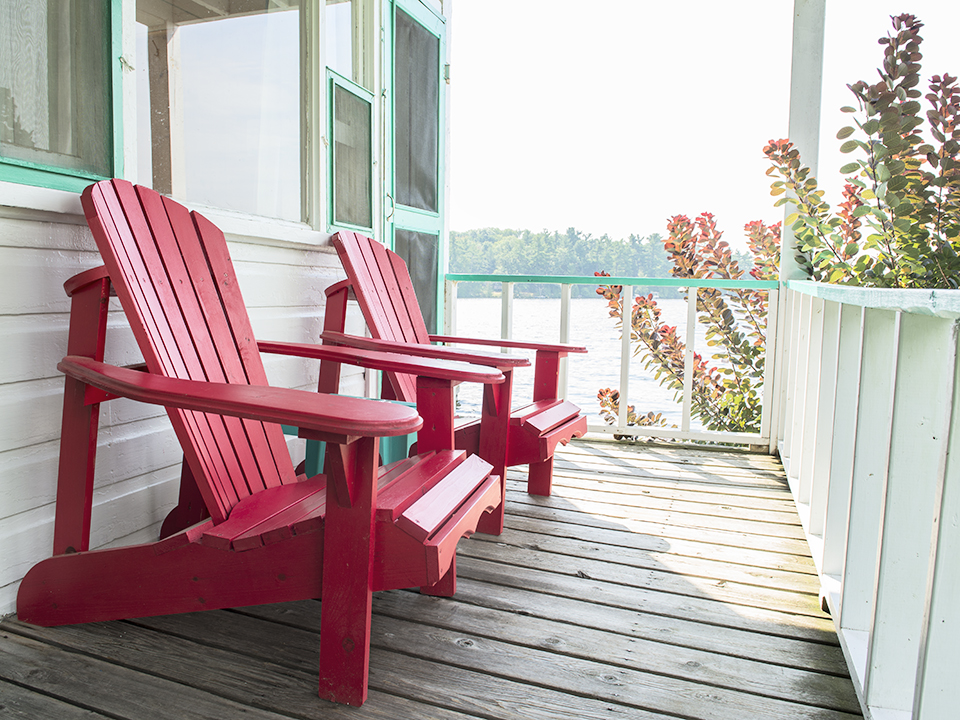 Each room has a couple of comfortable adirondacks to relax in and to enjoy the view.