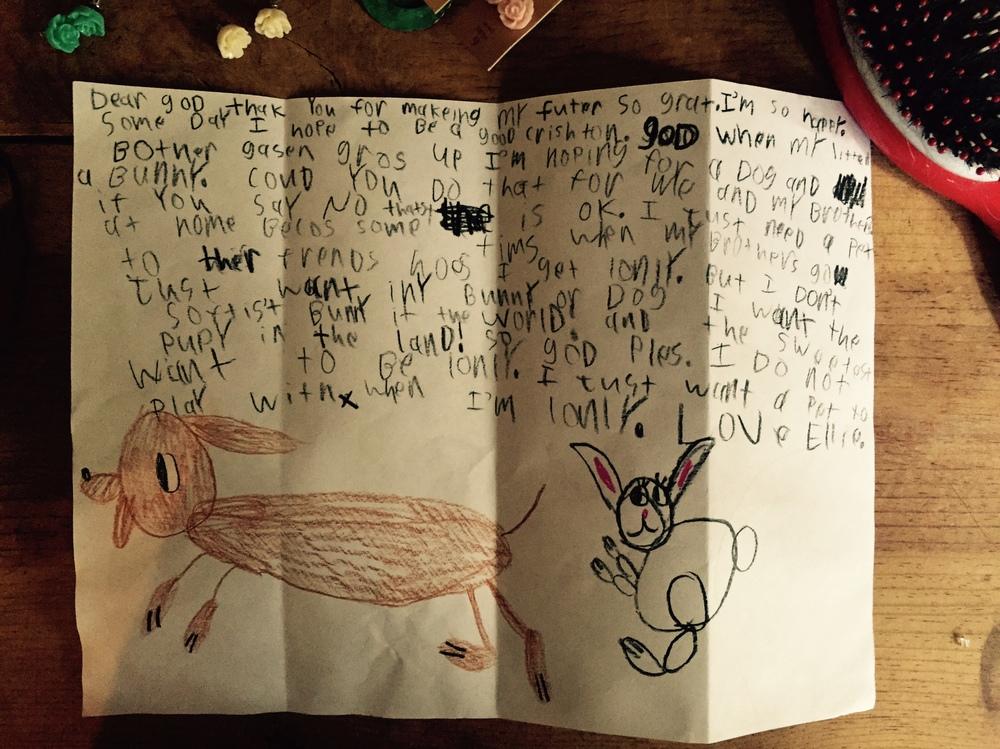 letter to God from Ellie Grace