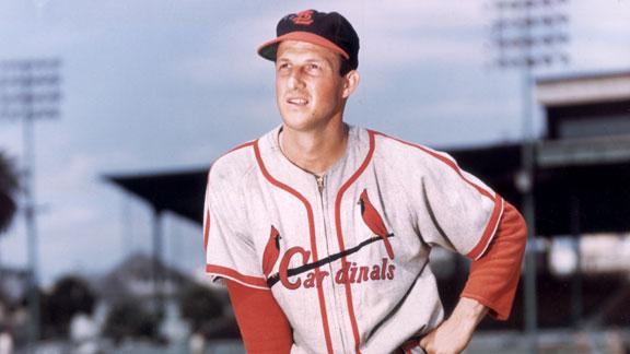 8. Stan Musial - Stan Musial, 1B/OFCareer: 1941-63, CardinalsFun fact: 1,815 hits both home and roadThe Man led the league in batting seven times, hit 475 home runs, scored nearly as many runs (1,949) as he drove in (1,951), won three MVP awards, and made 20 All-Star Games.Not bad for a guy who started his career as a pitcher (he was 18-5 with a 2.62 ERA for the Cardinals' Class D team in 1940, his final season on the mound). --Jim Caple