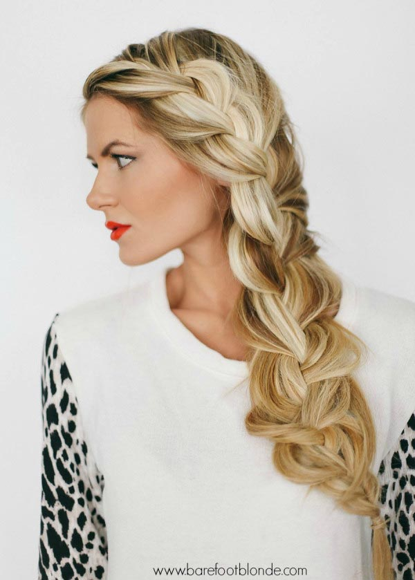 A side-swept braid looks great for one strap dresses! -