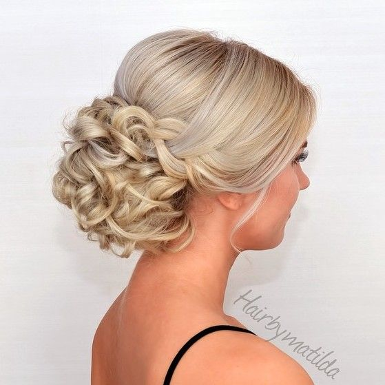 A formal updo can be worn with any dress, but it looks especially stunning with high neck lines! -