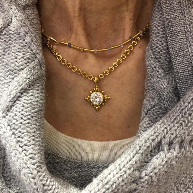 Ran into a client today wearing a necklace and pendant we made using her old mine cut diamond wedding ring. She wears it well! #repurpose #renew #22k #diamonds #handmadejewelry