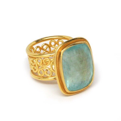 The perfect complement to your summer tan #oneofakind #22k #handmadejewelry #aqua #lovegold