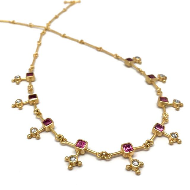 Everyday is the day to wear this rubellite and diamond necklace  #sparkly #22kgold #handmadejewelry #oneofakind #rubellite #rosecutdiamond #jewelrydesigner