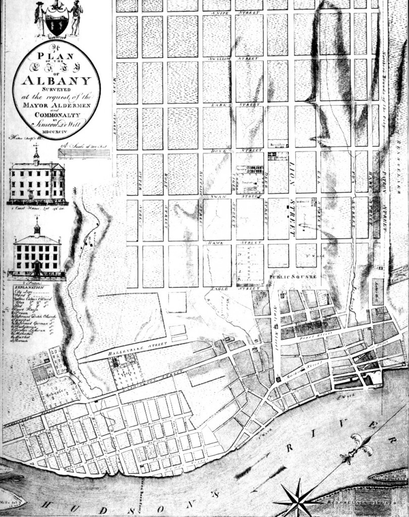 Simeon DeWitt's plan of 1794. The archaeological investigation took place west of the area labeled Schuyler in the lower left section of the map.