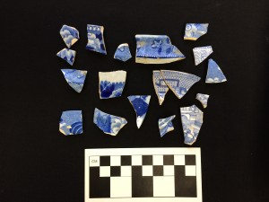 Blue transfer-printed ceramics from the late 19th century midden, 15 Alexander Street.