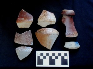 Stoneware beer bottle fragments found in the late 19th century midden at 15 Alexander Street.