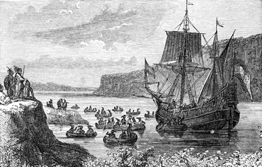 Henry Hudson's ship Halve Maen in the Hudson River
