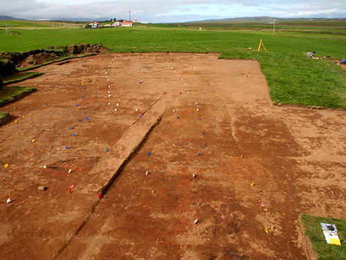 Excavated Viking-age longhouse at Glaumbaer.  Photo by Penn State News