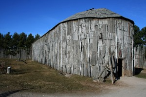 Reconstructed longhouse at Crawford Lake. Photo by Perry Quan