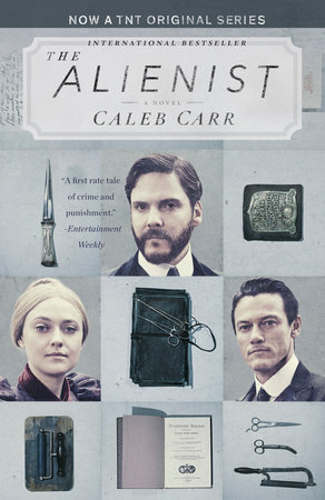 The Alienist  by Caleb Carr, with updated cover art featuring actors from the upcoming TNT drama series