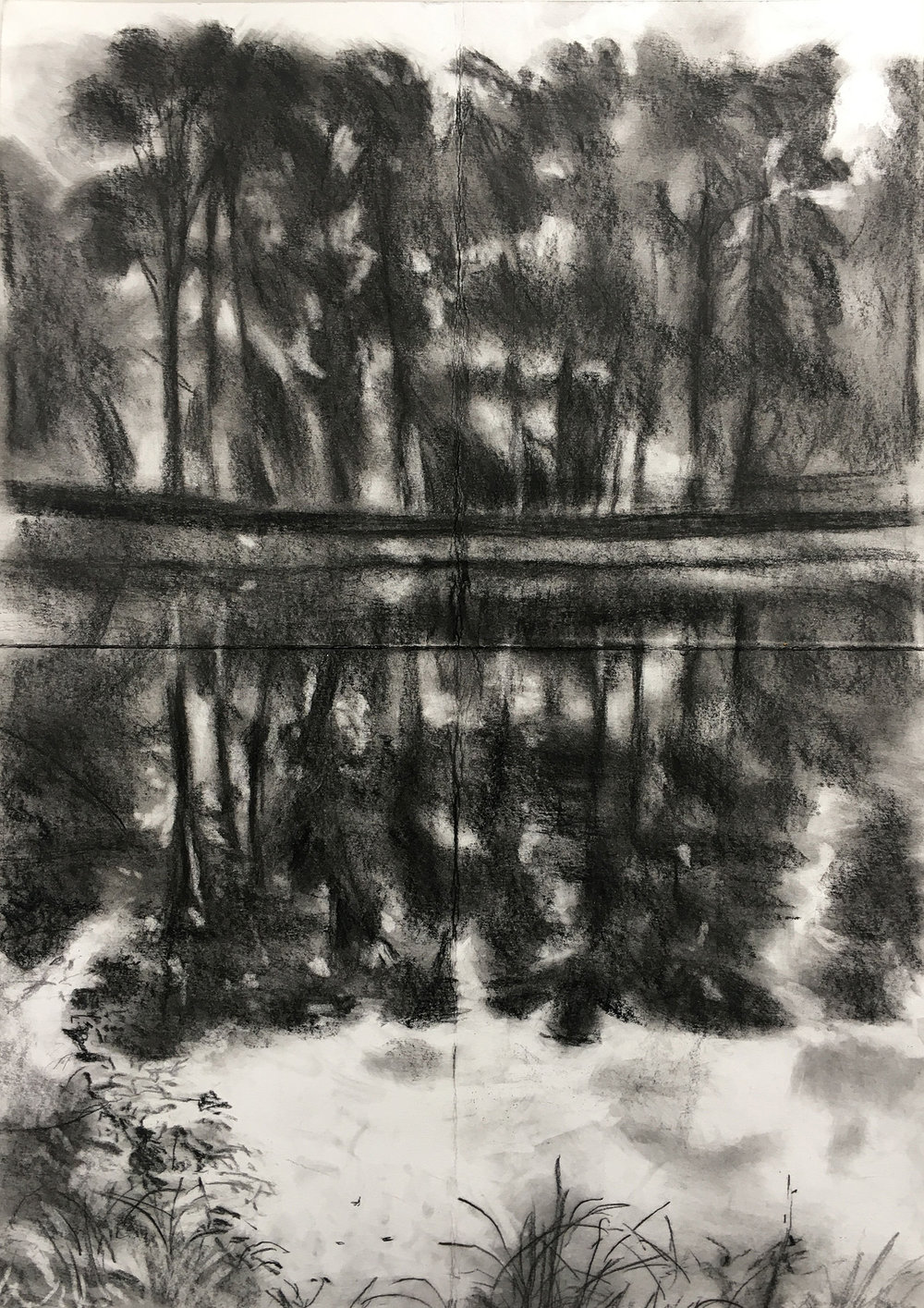 A Lake in Normandy Conte on paper, 42x59cm