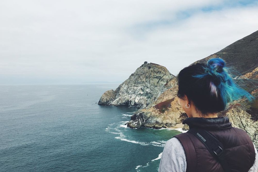 Pondering the expanse of ocean. A long way down and out. Photo credit: Kaitlyn Miller.  Follow her on Instagram:   @kaitnicole