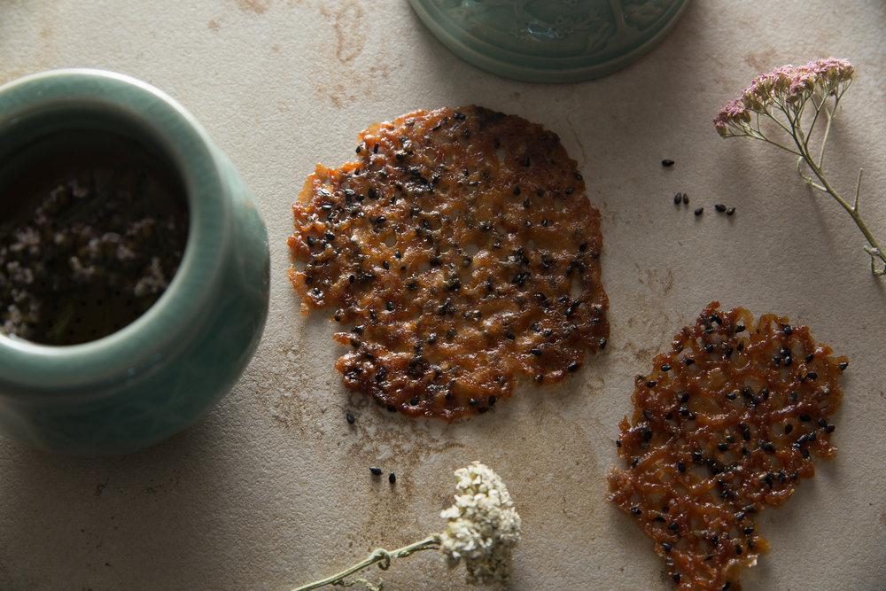 Black Sesame Seed Lace Cookies