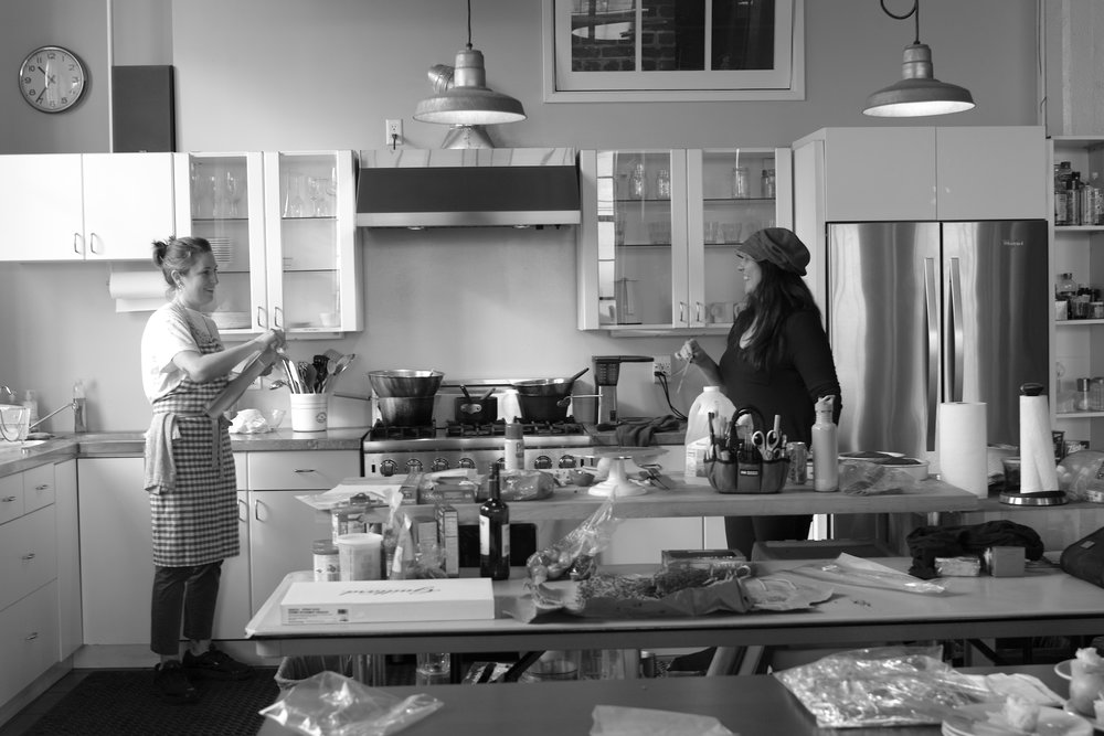 Alicia and Julie in the kitchen