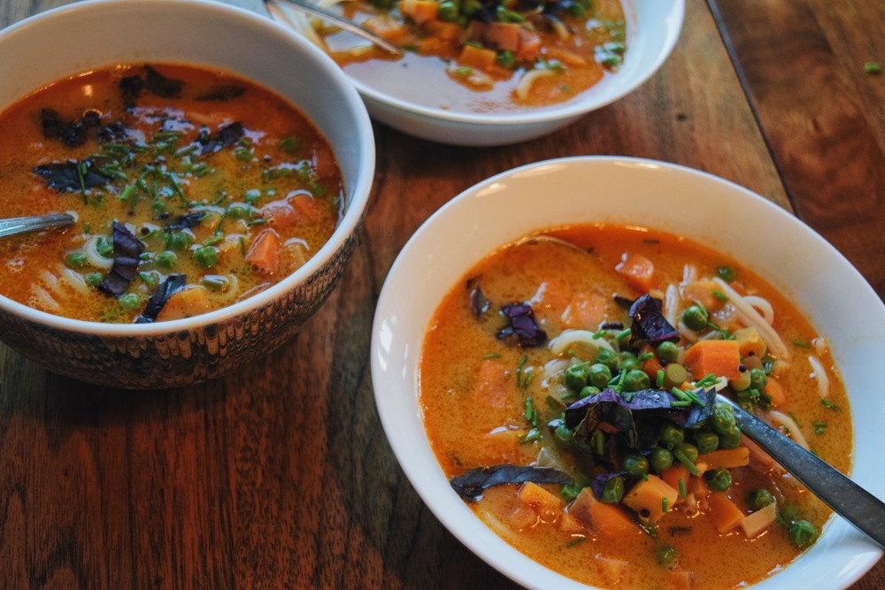 gluten free vegan noodle coconut milk soup