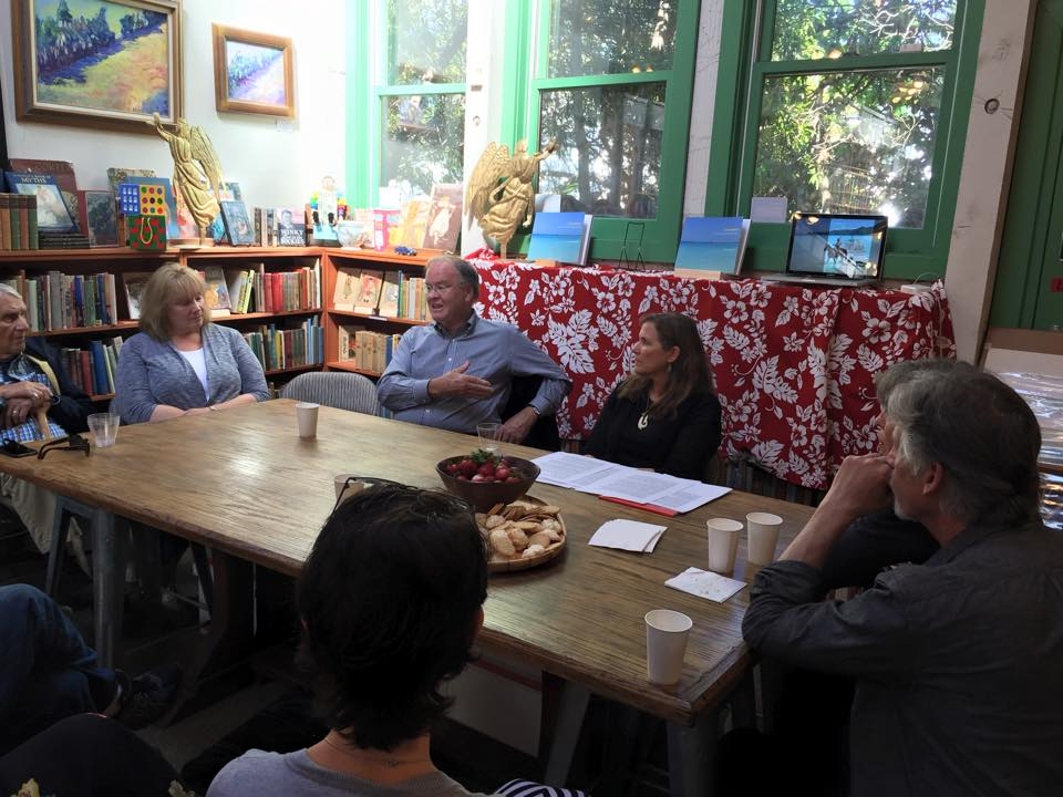 Book reading at Old Capital Books in Monterey, California. Special guest Congressman Sam Farr (center left) with author Sally-Christine Rodgers (center right) photo by Michael Sutton