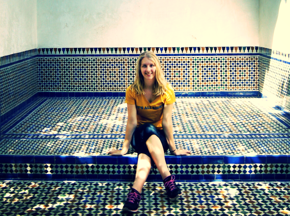 Chloe pictured at the King's Palace in Marrakech, Morocco.