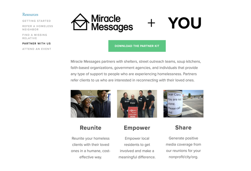 http://miraclemessages.org/ - A person experiencing homelessness records a message to a loved one, often with the help of a volunteer. Then, our network of 1,100+ digital detectives attempt to deliver it.