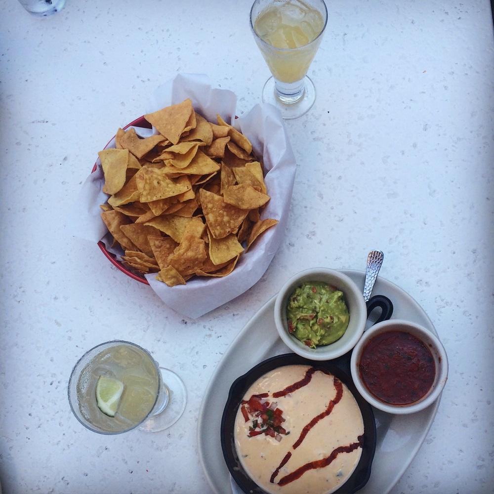 Guacamole, salsa and queso.