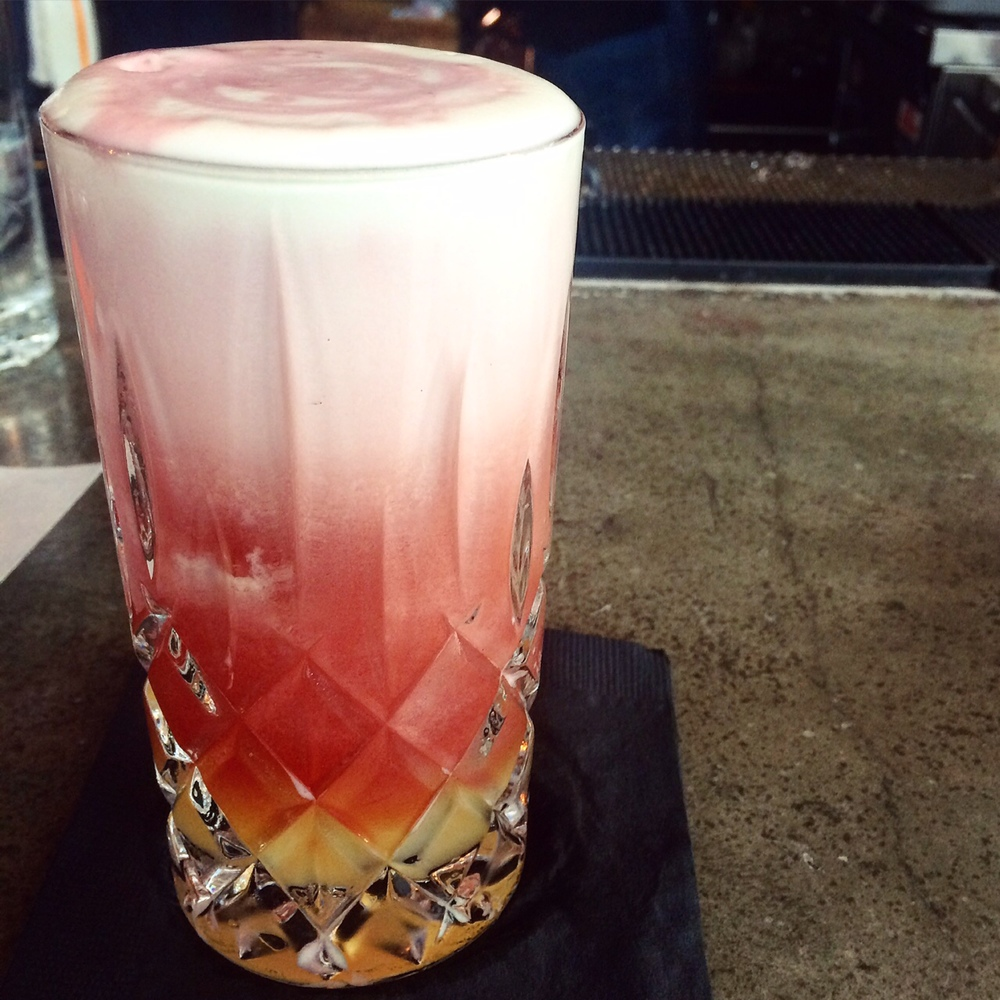 For the details on this mescal cocktail, you'll have to visit Luis Castro in Miami. Think - mescal, OJ and a drizzle of merlot.