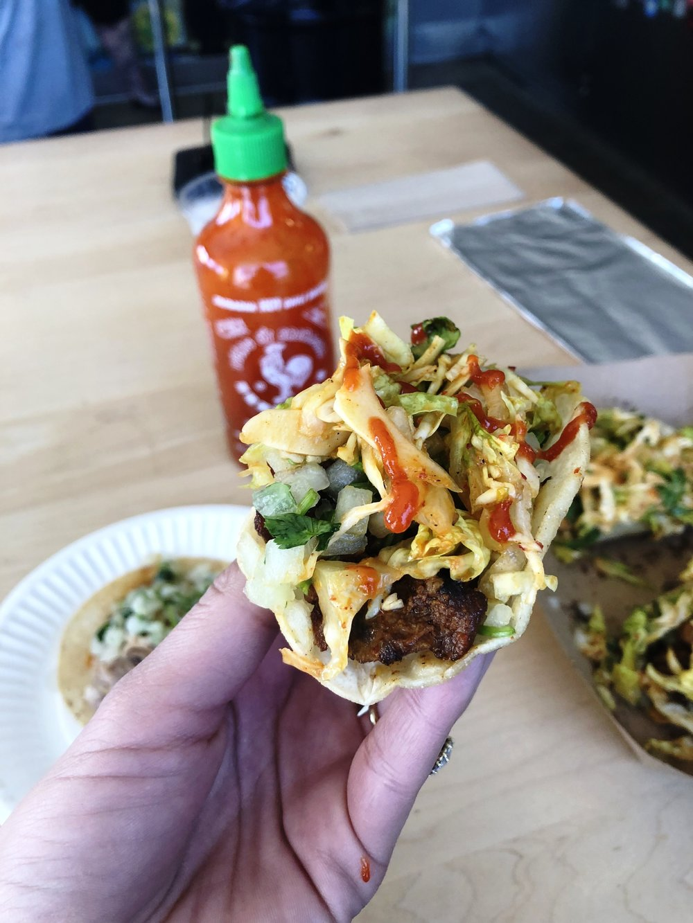 Double caramelized Korean barbecue short rib, a salsa roja made from Korean and Mexican chillies, our cilantro-onion-lime relish and chili soy Kogi slaw -all over two, crisply-griddled corn tortillas.