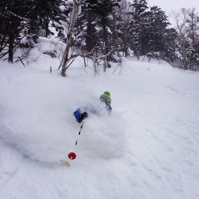 skier Jake  gets faceshot at Kiroro