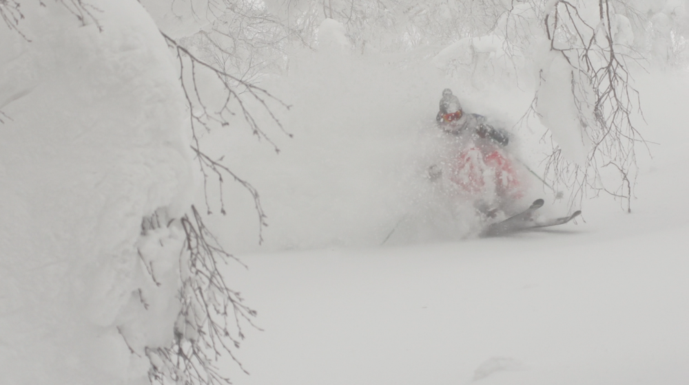 skier emerges from pow turn at Iwatake, Japan