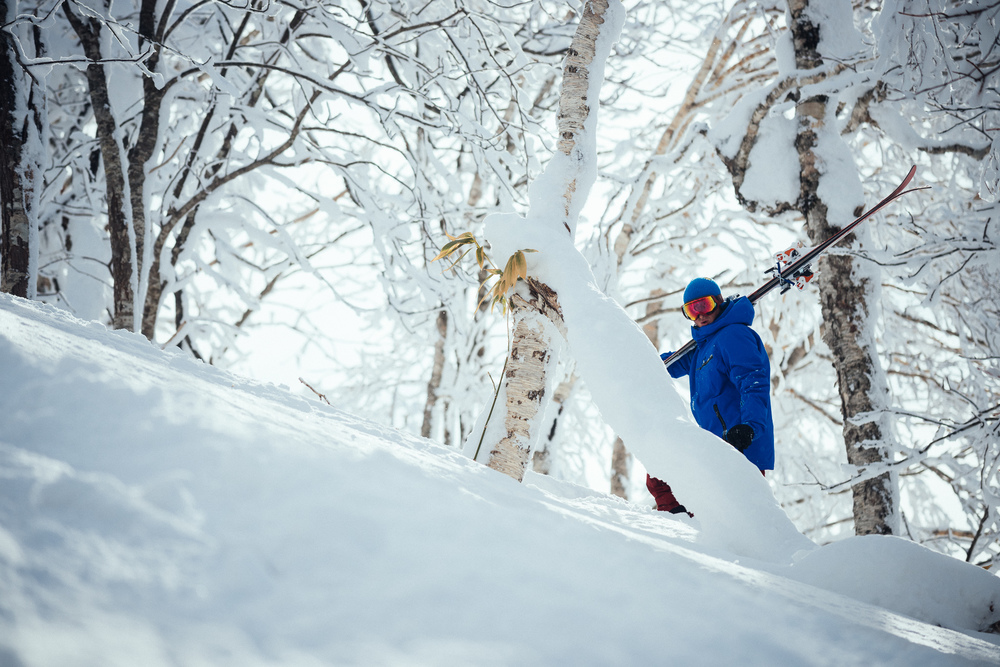 Jake pauses on his hike for another run at Rusutsu Ski Resort, Japan.