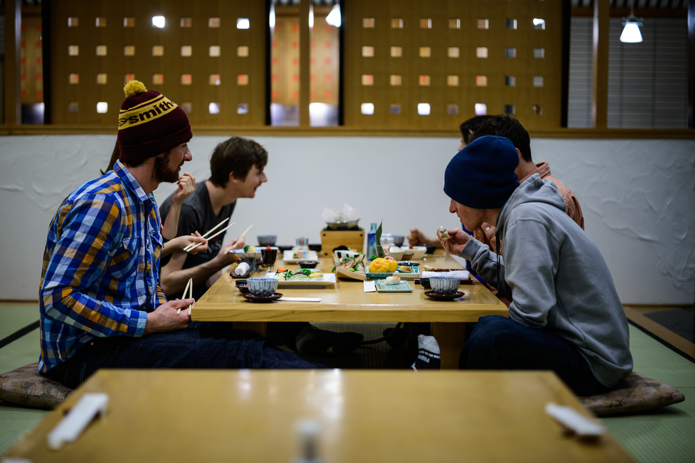Snowlocals team sits down for a Japanese dinner at Rusutsu Ski Resort